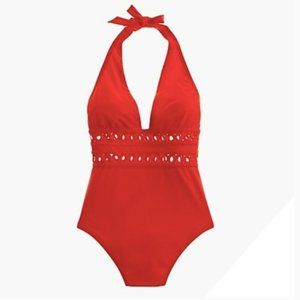 J. Crew Halter One-piece Swimsuit with Cutout Trim